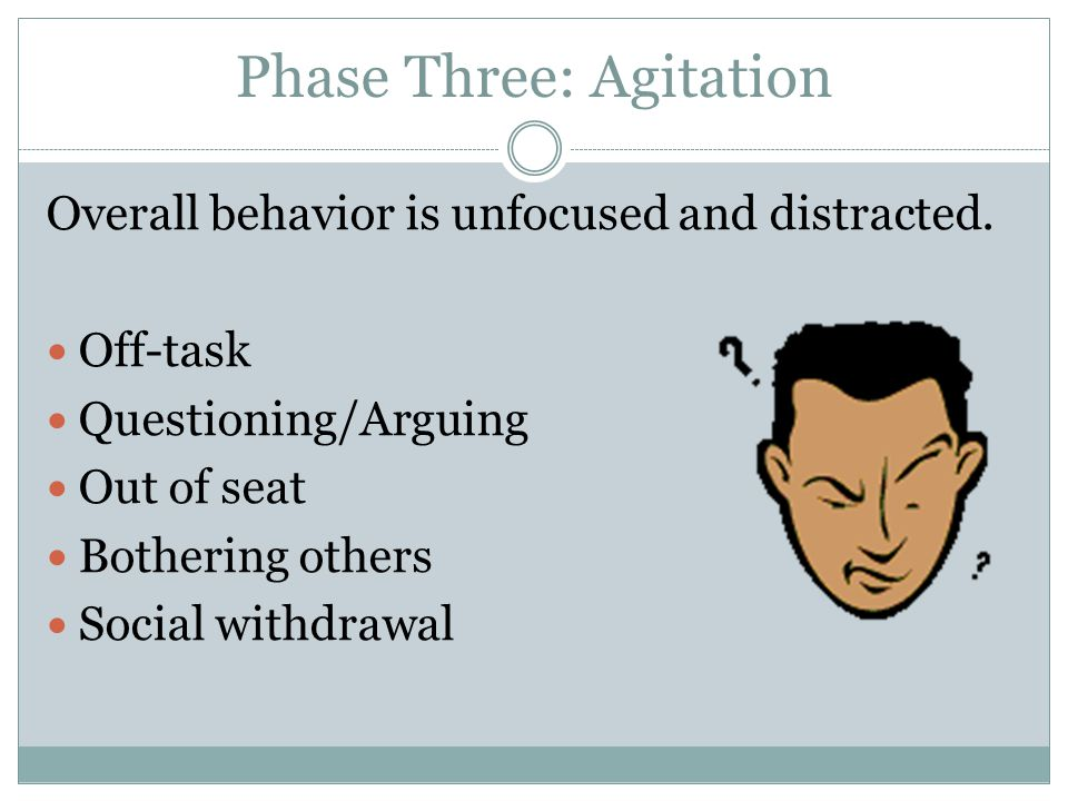 Phase Three: Agitation Overall behavior is unfocused and distracted. Off-task Questioning/Arguing Out of seat Bothering others Social withdrawal
