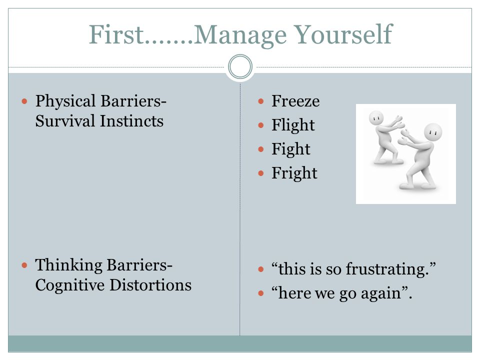 """First…….Manage Yourself Physical Barriers- Survival Instincts Thinking Barriers- Cognitive Distortions Freeze Flight Fight Fright """"this is so frustrat"""