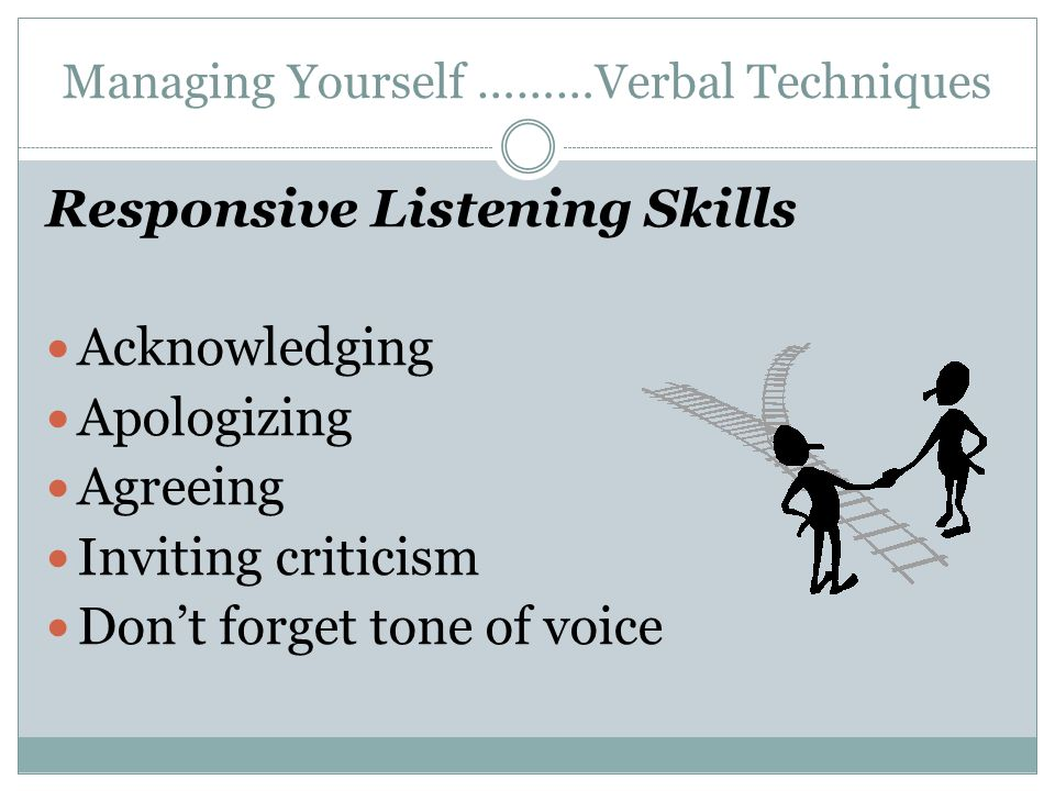Managing Yourself ………Verbal Techniques Responsive Listening Skills Acknowledging Apologizing Agreeing Inviting criticism Don't forget tone of voice