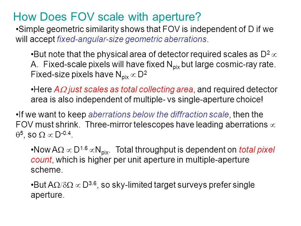 How Does FOV scale with aperture? Simple geometric similarity shows that FOV is independent of D if we will accept fixed-angular-size geometric aberra