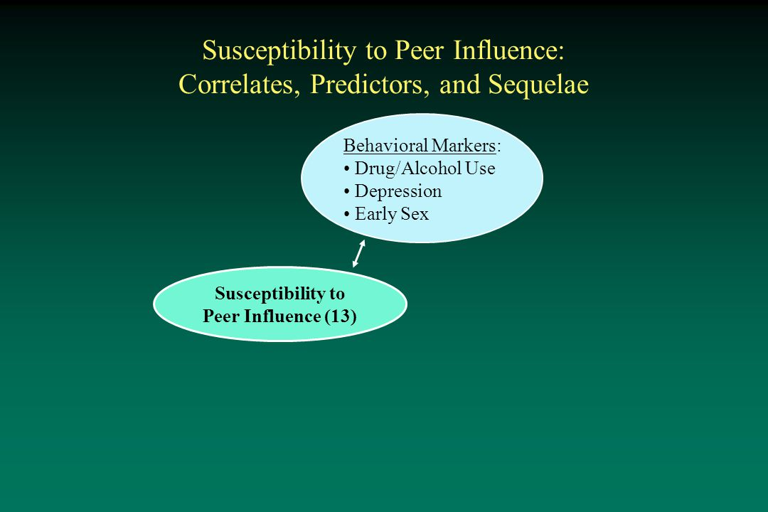 Susceptibility to Peer Influence: Correlates, Predictors, and Sequelae Susceptibility to Peer Influence (13) Behavioral Markers: Drug/Alcohol Use Depression Early Sex