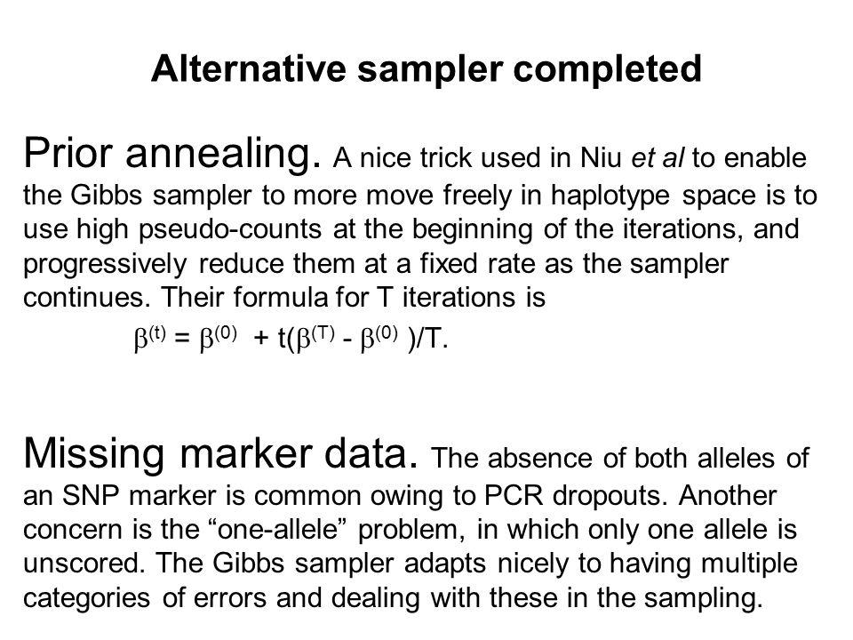 Alternative sampler completed Prior annealing.