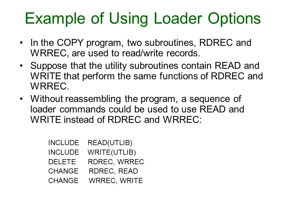 In the COPY program, two subroutines, RDREC and WRREC, are used to read/write records. Suppose that the utility subroutines contain READ and WRITE tha