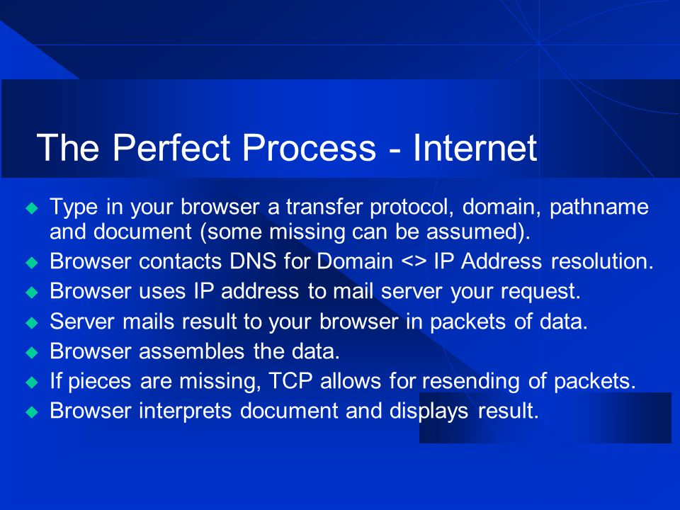 The Perfect Process - Internet  Type in your browser a transfer protocol, domain, pathname and document (some missing can be assumed).  Browser cont