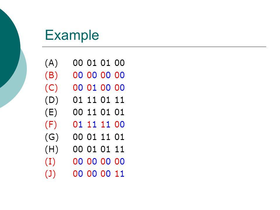 Example (A)00 01 01 00 (B)00 00 00 00 (C)00 01 00 00 (D)01 11 01 11 (E)00 11 01 01 (F)01 11 11 00 (G)00 01 11 01 (H)00 01 01 11 (I)00 00 00 00 (J)00 0