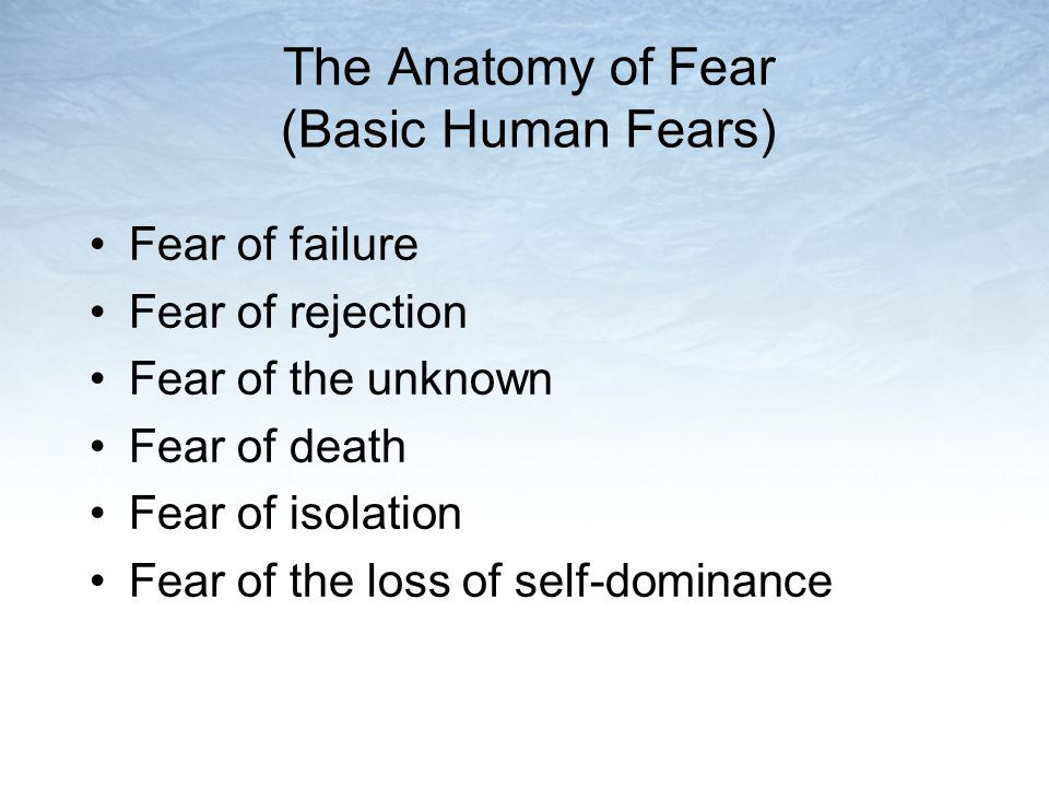 The Anatomy of Fear (Basic Human Fears) Fear of failure Fear of rejection Fear of the unknown Fear of death Fear of isolation Fear of the loss of self