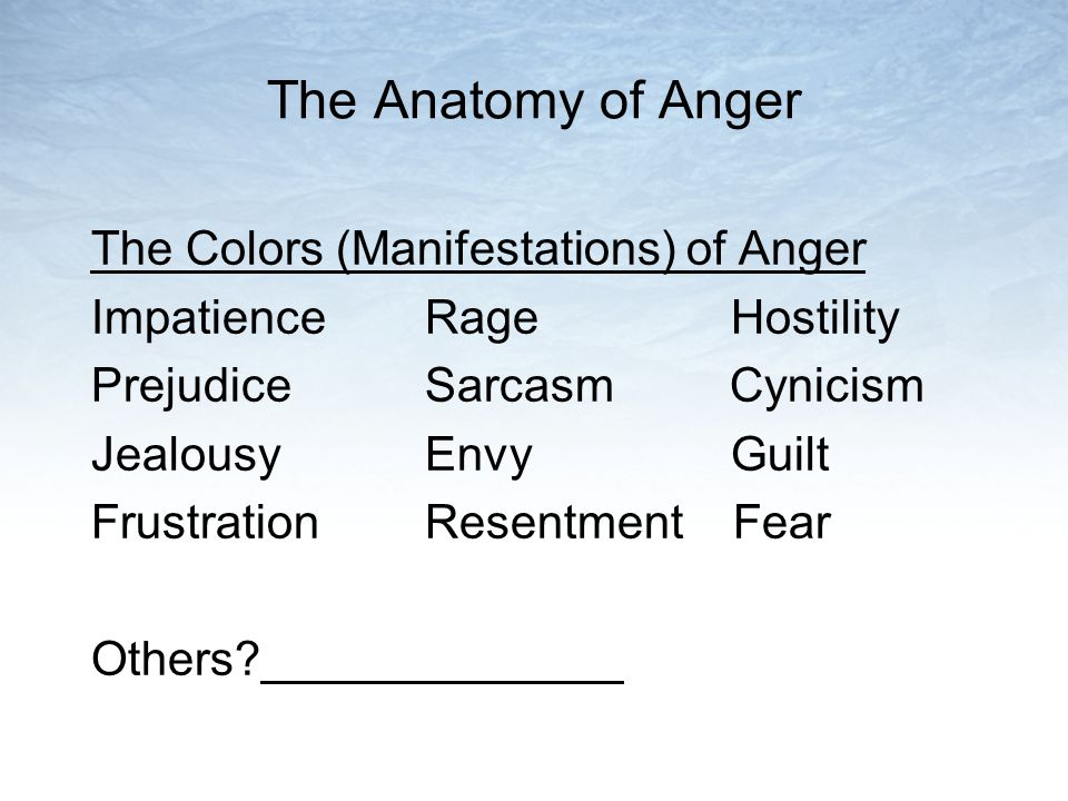 The Anatomy of Anger The Colors (Manifestations) of Anger Impatience Rage Hostility Prejudice Sarcasm Cynicism Jealousy Envy Guilt Frustration Resentm
