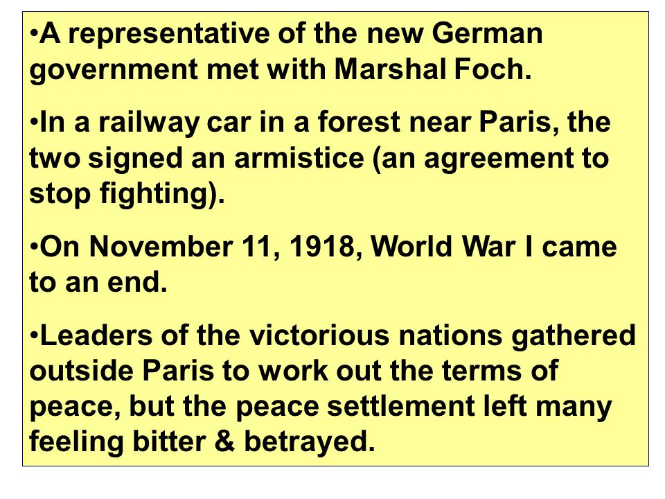 Treaty of Versailles Conference January -June 1919 Settlement drafted by delegates of victorious nations in WWI: Britain, United States, France, and I