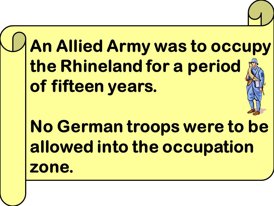 Germany had to hand over some 70,000 square kilometres of land. This accounted for about 13% of all of her land and six million of her people who live