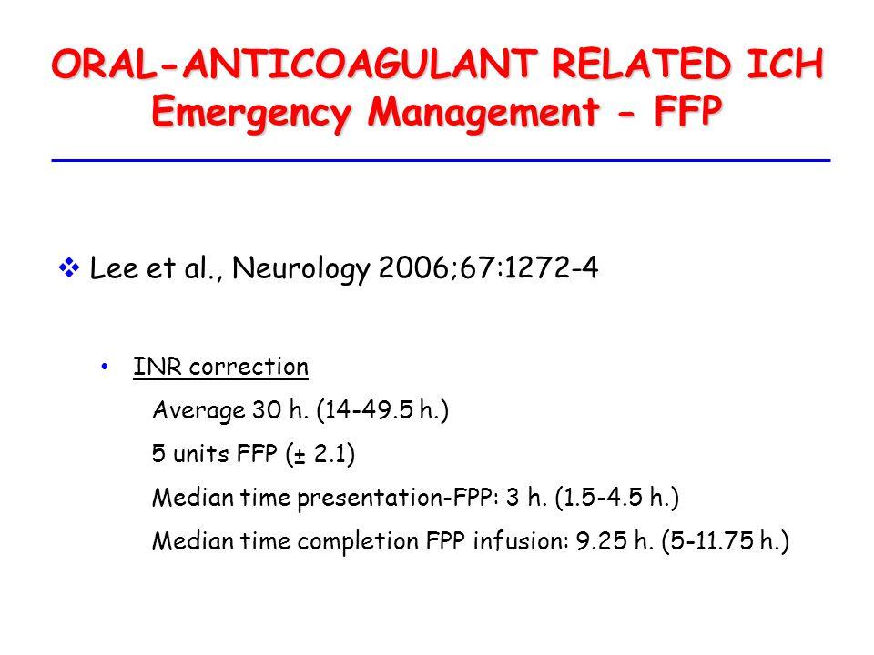 ORAL-ANTICOAGULANT RELATED ICH Emergency Management - FFP  Lee et al., Neurology 2006;67:1272-4 INR correction Average 30 h. (14-49.5 h.) 5 units FFP