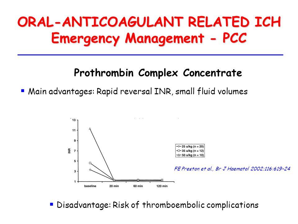 ORAL-ANTICOAGULANT RELATED ICH Emergency Management - PCC FE Preston et al., Br J Haematol 2002;116:619-24 Prothrombin Complex Concentrate  Main adva