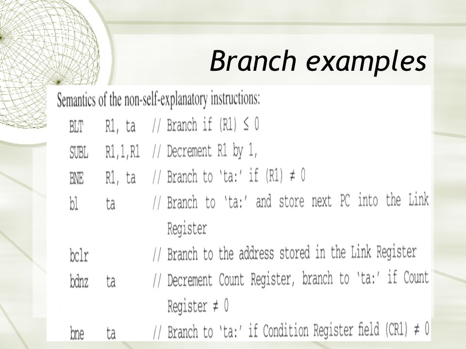 Branch examples
