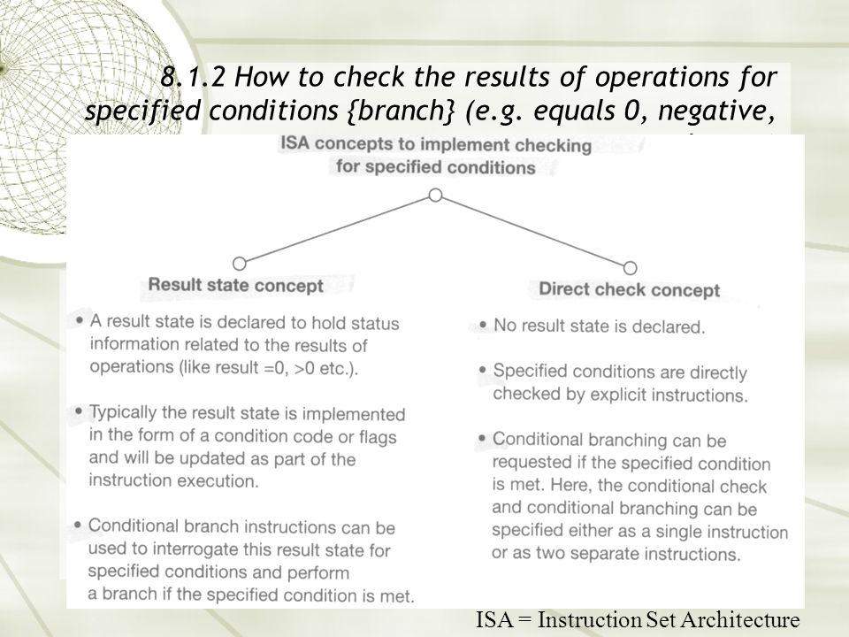 8.1.2 How to check the results of operations for specified conditions {branch} (e.g. equals 0, negative, and so on) ISA = Instruction Set Architecture