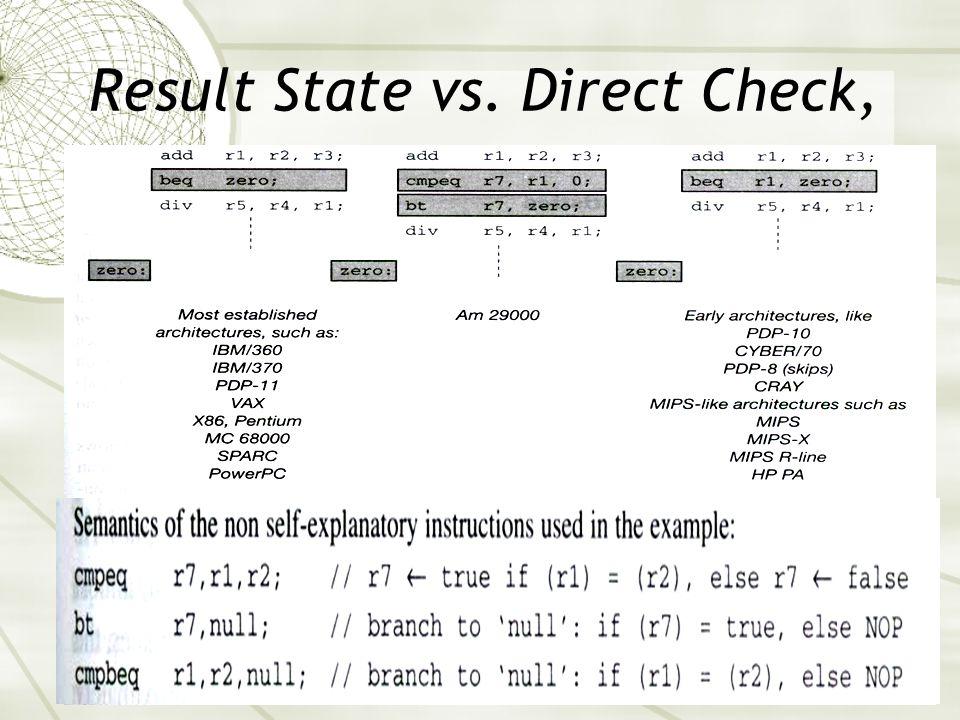 Result State vs. Direct Check, e.g.