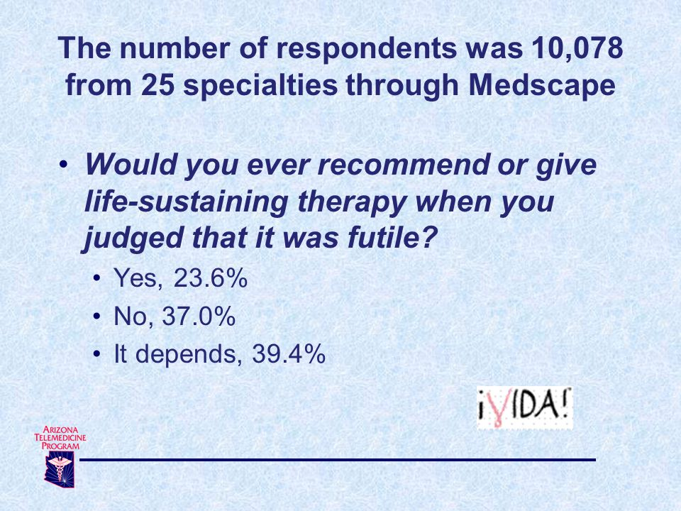 The number of respondents was 10,078 from 25 specialties through Medscape Would you ever recommend or give life-sustaining therapy when you judged that it was futile.