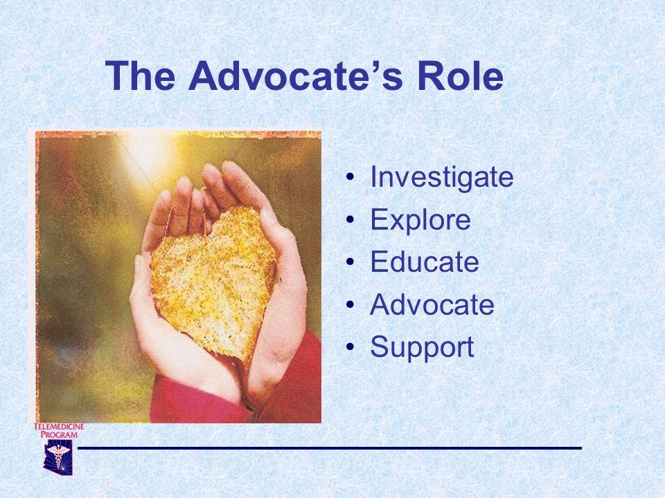 The Advocate's Role Investigate Explore Educate Advocate Support