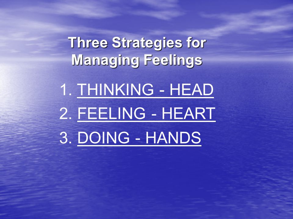 Three Strategies for Managing Feelings 1. THINKING - HEAD 2. FEELING - HEART 3. DOING - HANDS