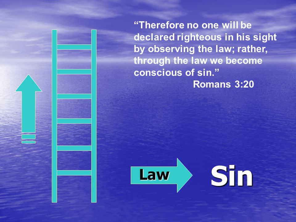 Law Sin Therefore no one will be declared righteous in his sight by observing the law; rather, through the law we become conscious of sin. Romans 3:20