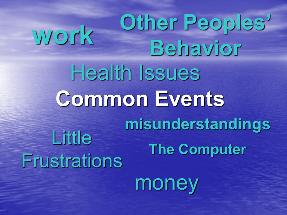 Common Events Little Frustrations Other Peoples' Behavior work Health Issues The Computer money misunderstandings