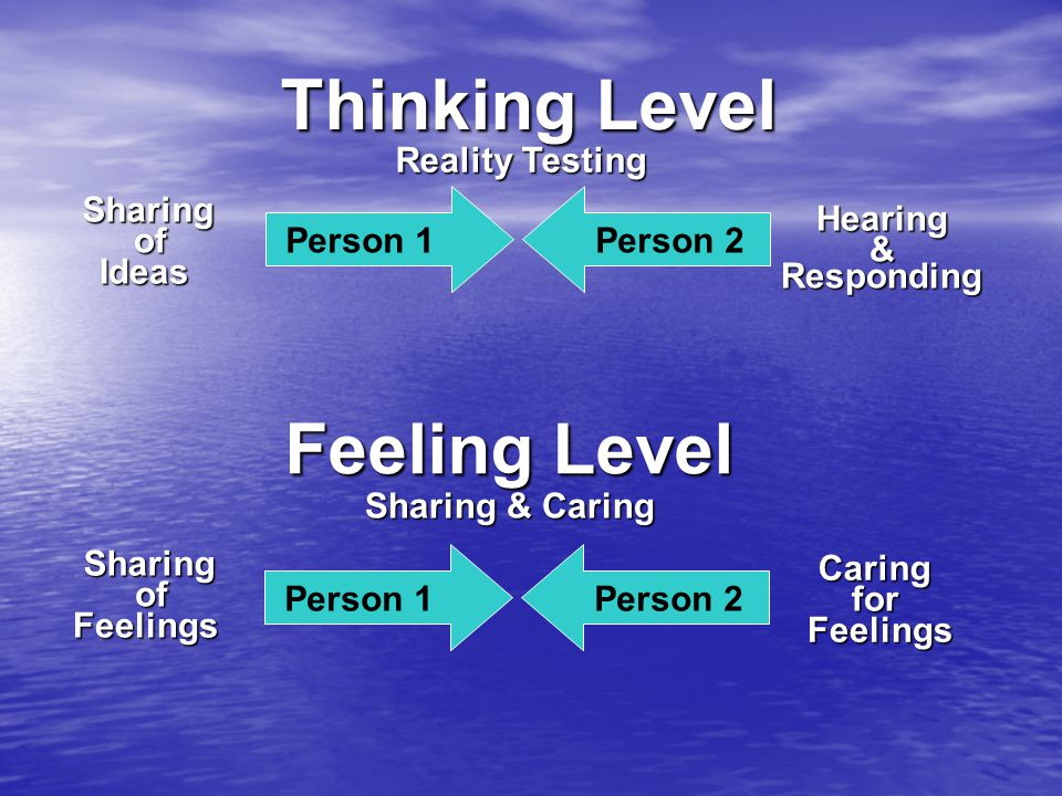 Thinking Level Reality Testing Person 1 Sharing Hearing Responding & Person 2 Feeling Level Sharing & Caring Person 1Person 2 Ideas of Sharing Feelings of Caring Feelings for