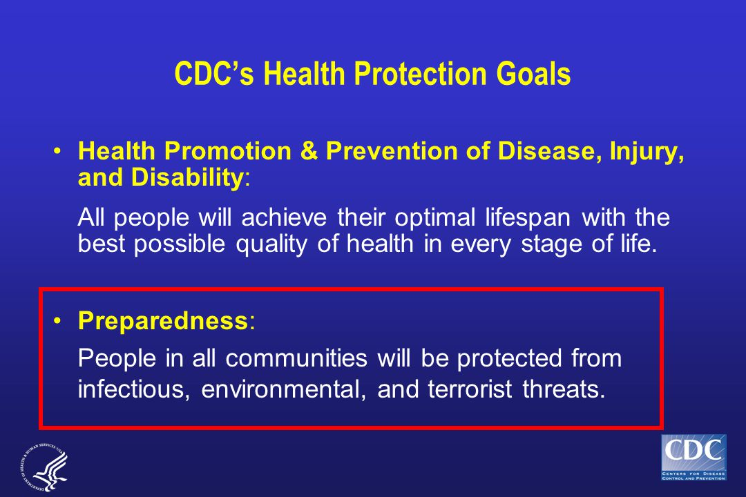 CDC's Health Protection Goals Health Promotion & Prevention of Disease, Injury, and Disability: All people will achieve their optimal lifespan with th