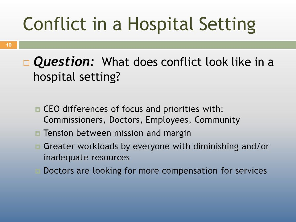 Conflict in a Hospital Setting  Question: What does conflict look like in a hospital setting.