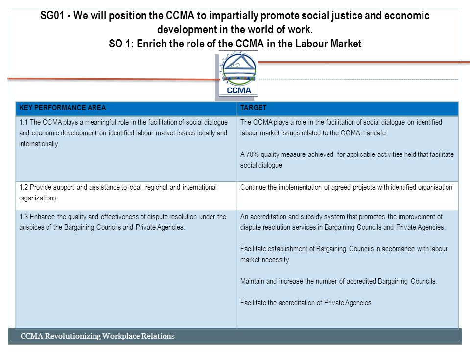 SG01 - We will position the CCMA to impartially promote social justice and economic development in the world of work.