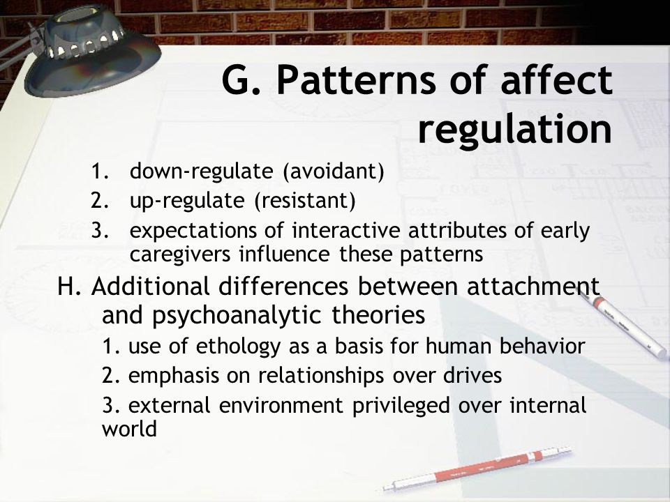 G. Patterns of affect regulation 1.down-regulate (avoidant) 2.up-regulate (resistant) 3.expectations of interactive attributes of early caregivers inf