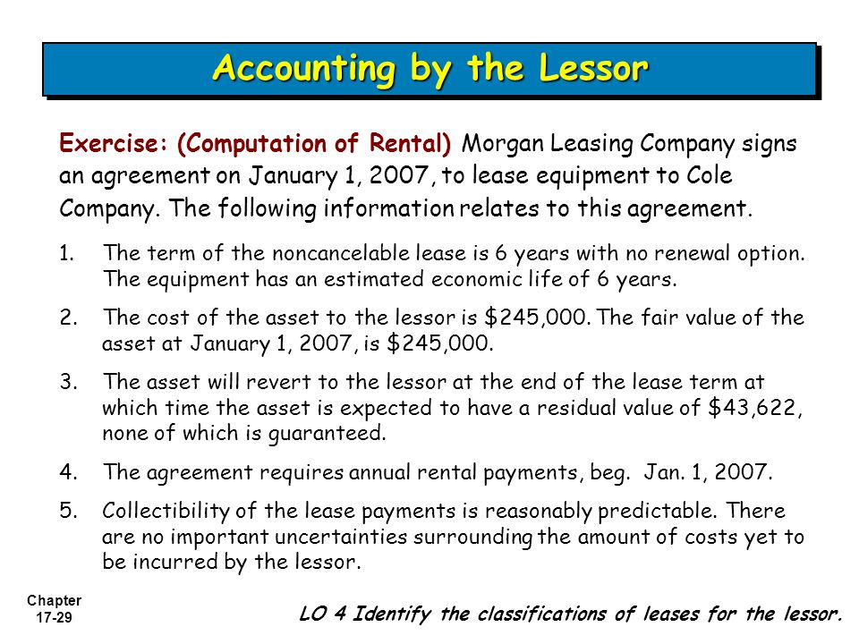 Chapter 17-29 Exercise: (Computation of Rental) Morgan Leasing Company signs an agreement on January 1, 2007, to lease equipment to Cole Company.