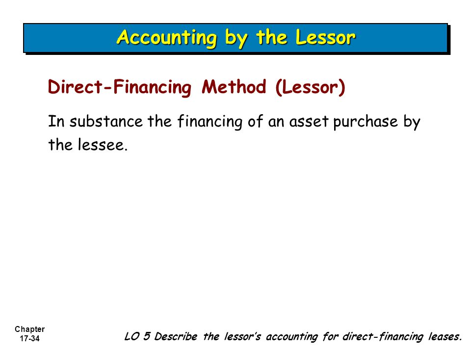 Chapter 17-34 In substance the financing of an asset purchase by the lessee.
