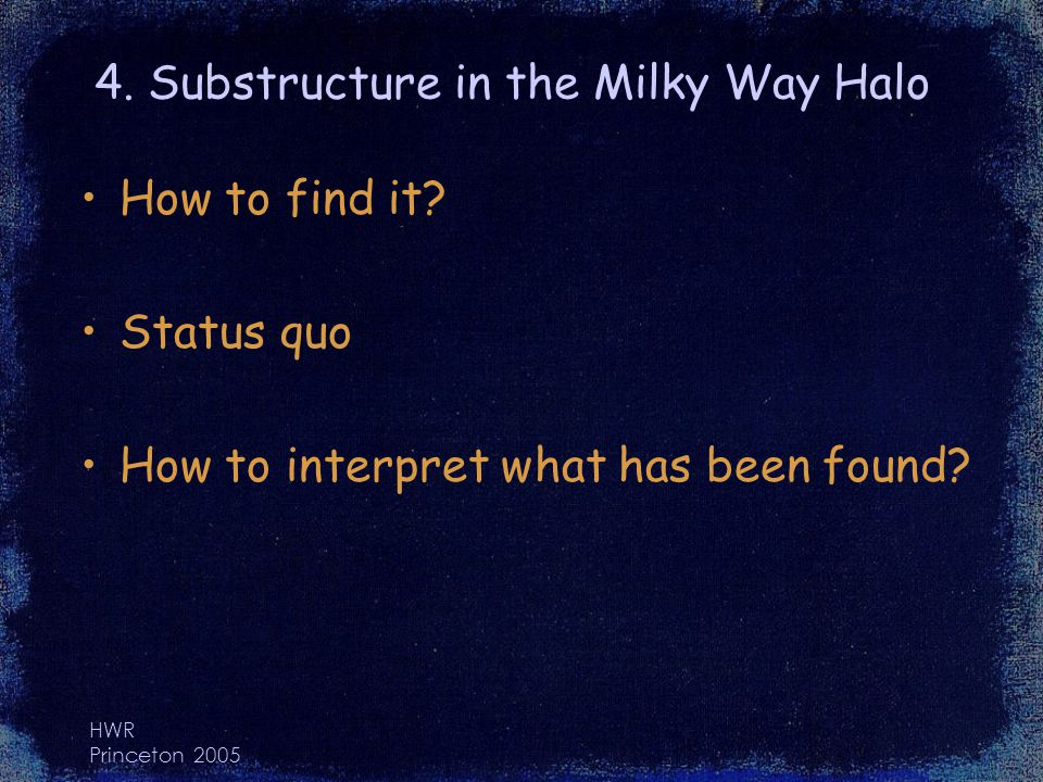 HWR Princeton 2005 4. Substructure in the Milky Way Halo How to find it.