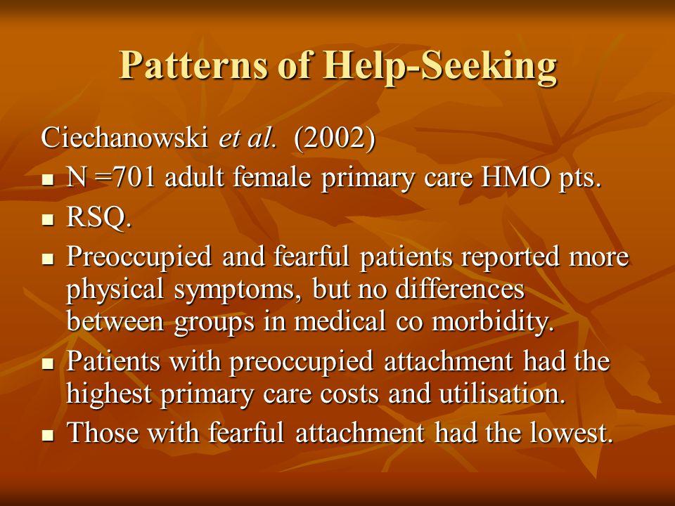 Patterns of Help-Seeking Ciechanowski et al. (2002) N =701 adult female primary care HMO pts. N =701 adult female primary care HMO pts. RSQ. RSQ. Preo