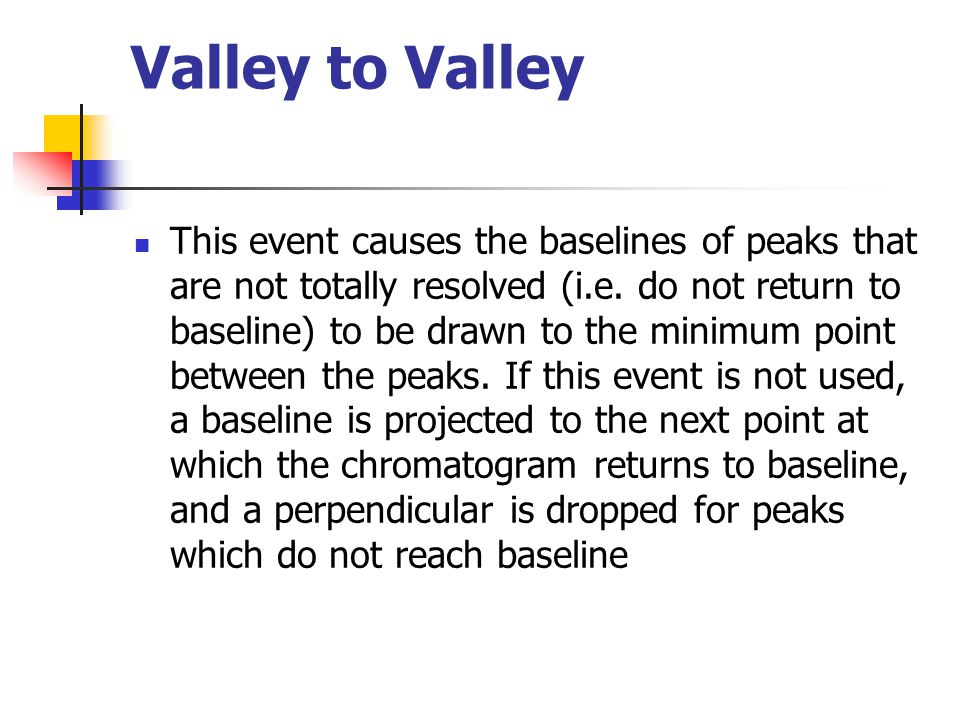 Valley to Valley This event causes the baselines of peaks that are not totally resolved (i.e. do not return to baseline) to be drawn to the minimum po