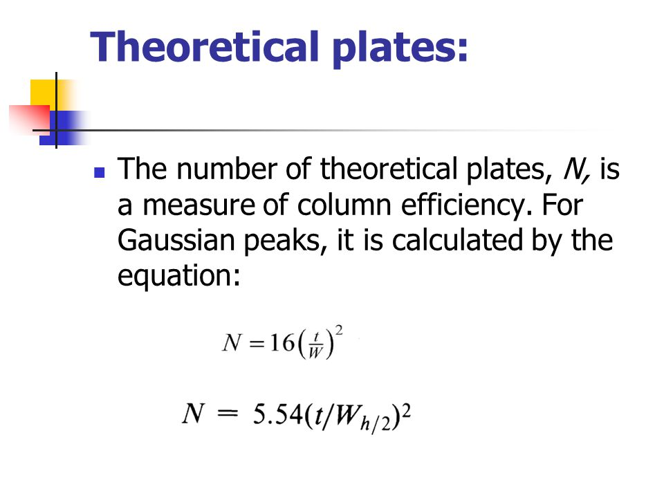 Theoretical plates: The number of theoretical plates, N, is a measure of column efficiency. For Gaussian peaks, it is calculated by the equation: