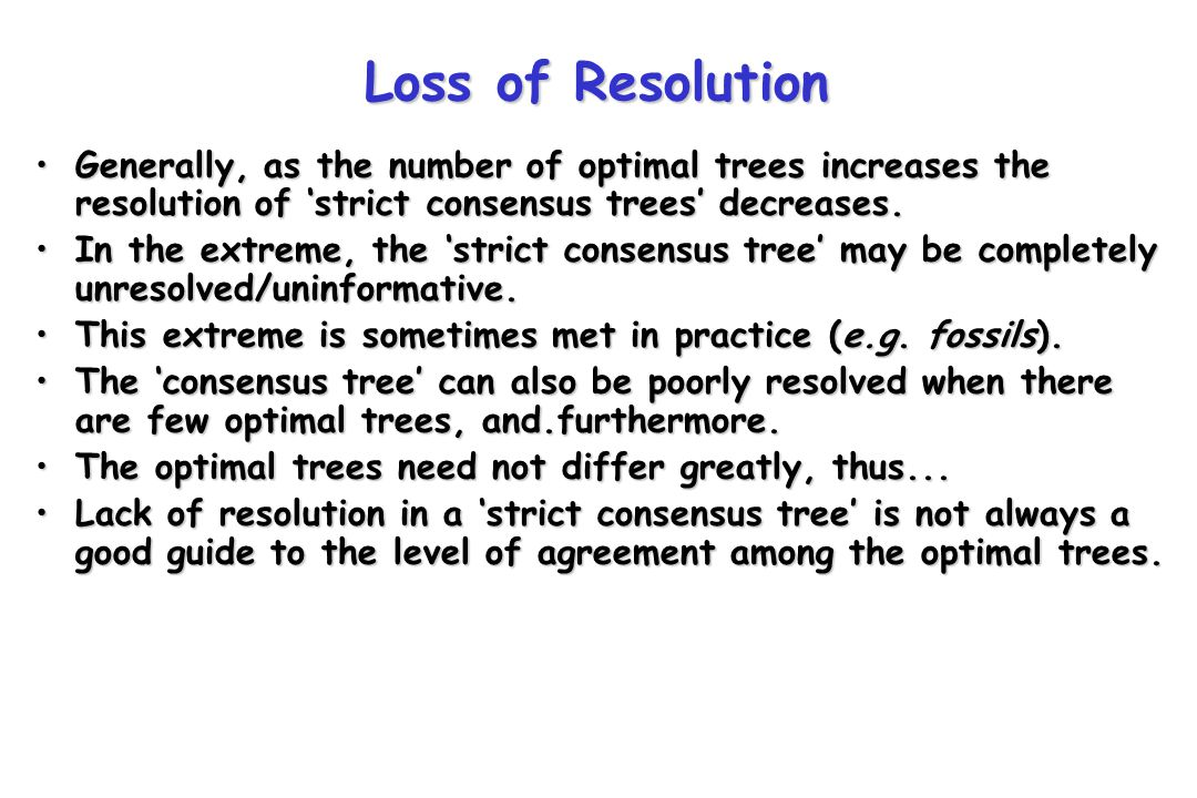 Optimal trees need not differ greatly for 'the consensus tree' to be unresolved