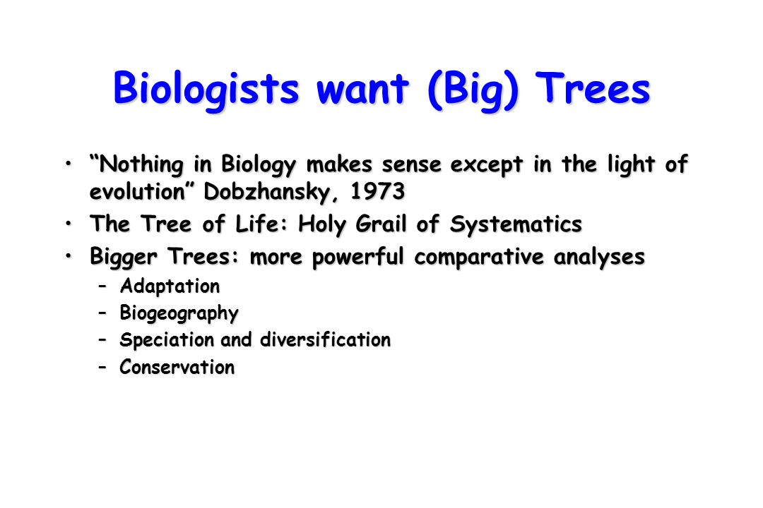 """Biologists want (Big) Trees """"Nothing in Biology makes sense except in the light of evolution"""" Dobzhansky, 1973""""Nothing in Biology makes sense except i"""