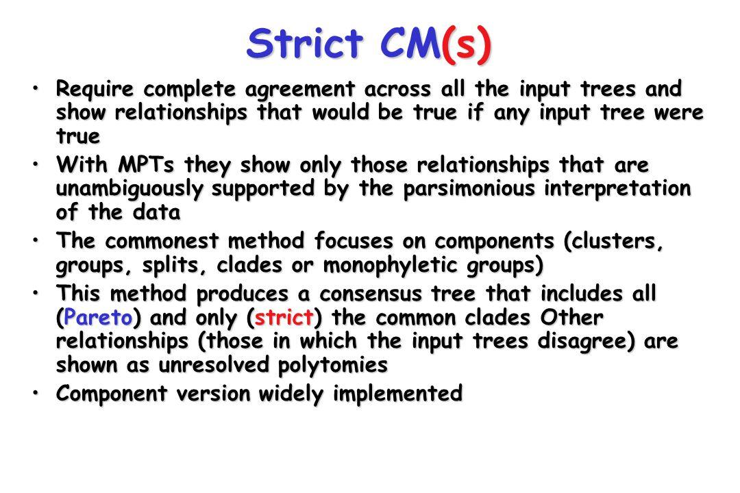 Strict CM(s) ABCDEFG A B C E D FG TWO INPUT TREES A B C D E FG STRICT (COMPONENT) CONSENSUS TREE