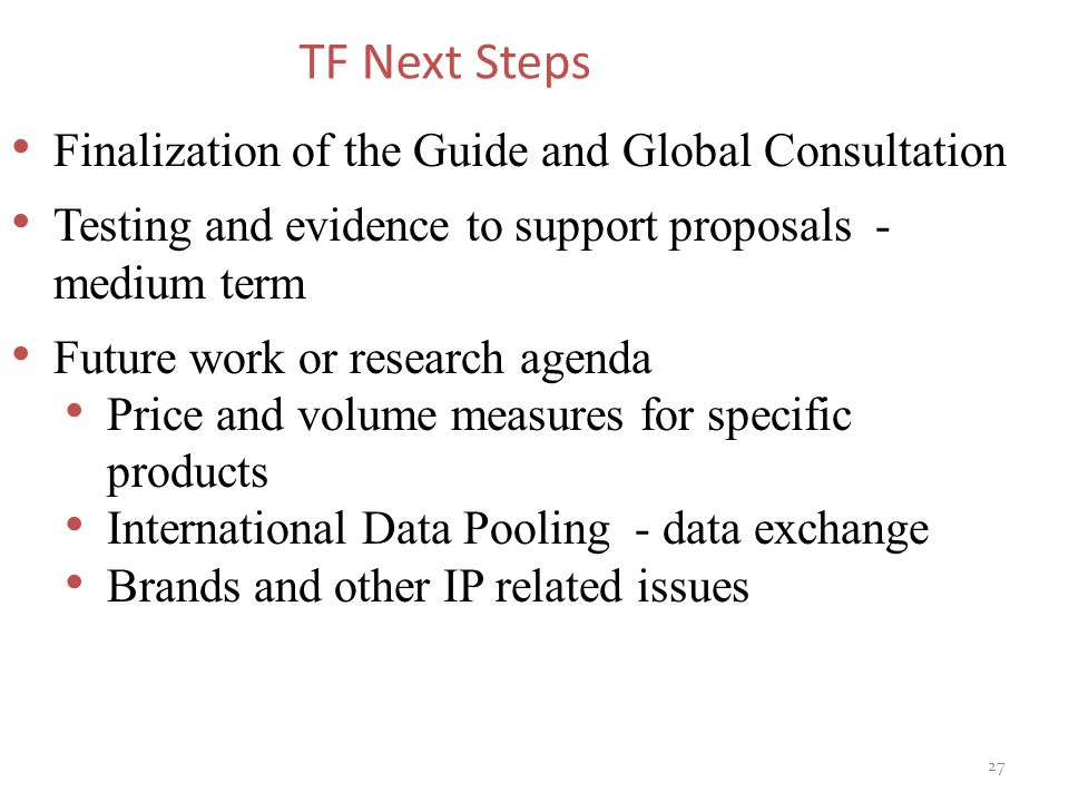 TF Next Steps Finalization of the Guide and Global Consultation Testing and evidence to support proposals - medium term Future work or research agenda