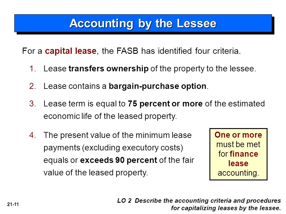 21-11 For a capital lease, the FASB has identified four criteria.