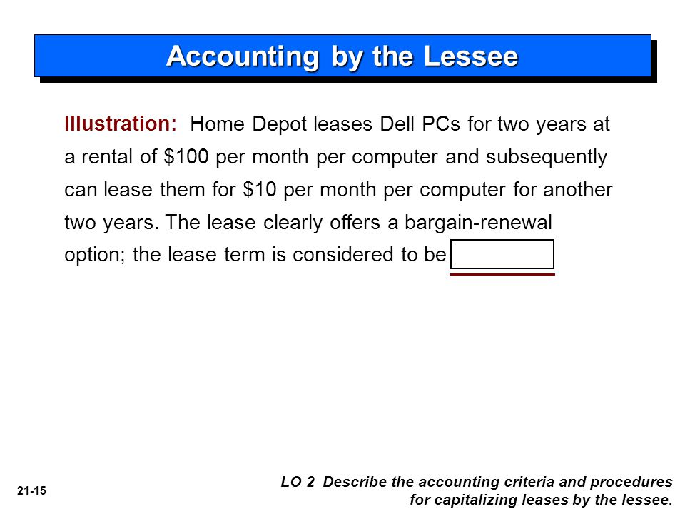 21-15 Illustration: Home Depot leases Dell PCs for two years at a rental of $100 per month per computer and subsequently can lease them for $10 per month per computer for another two years.