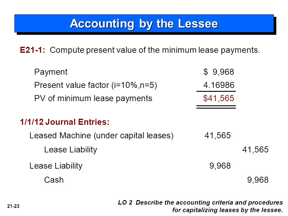 21-23 Accounting by the Lessee Payment $ 9,968 Present value factor (i=10%,n=5) 4.16986 PV of minimum lease payments $41,565 Leased Machine (under capital leases)41,565 Lease Liability 41,565 Lease Liability 9,968 Cash9,968 1/1/12 Journal Entries: LO 2 Describe the accounting criteria and procedures for capitalizing leases by the lessee.