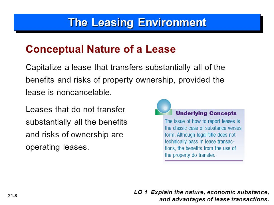 21-8 Capitalize a lease that transfers substantially all of the benefits and risks of property ownership, provided the lease is noncancelable.