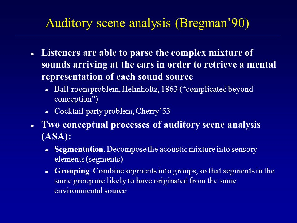Speech segregation problem In a natural environment, speech is usually corrupted by acoustic interference. Speech segregation is critical for many app