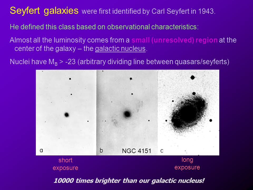 Hosts and Environments Most quasars, NLRGs/BLRGs, blazars are E/S0 hosts (some early type spirals for radio quiet quasars) Seyferts/LINERs are typically spirals The maximum luminosity of the AGN correlates with the bulge mass (Ferrerese et al.