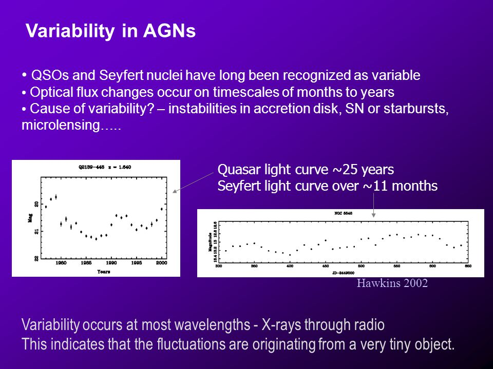 Variability occurs at most wavelengths - X-rays through radio This indicates that the fluctuations are originating from a very tiny object. QSOs and S