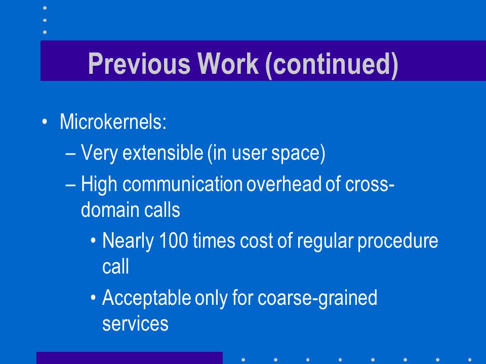 Previous Work (continued) Microkernels: –Very extensible (in user space) –High communication overhead of cross- domain calls Nearly 100 times cost of regular procedure call Acceptable only for coarse-grained services