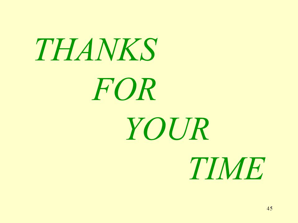 45 THANKS FOR YOUR TIME Y E S / N O