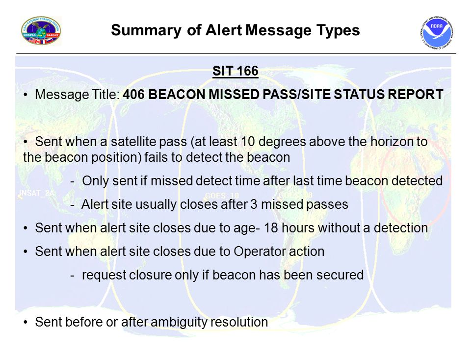Summary of Alert Message Types SIT 166 Message Title: 406 BEACON MISSED PASS/SITE STATUS REPORT Sent when a satellite pass (at least 10 degrees above the horizon to the beacon position) fails to detect the beacon - Only sent if missed detect time after last time beacon detected - Alert site usually closes after 3 missed passes Sent when alert site closes due to age- 18 hours without a detection Sent when alert site closes due to Operator action - request closure only if beacon has been secured Sent before or after ambiguity resolution