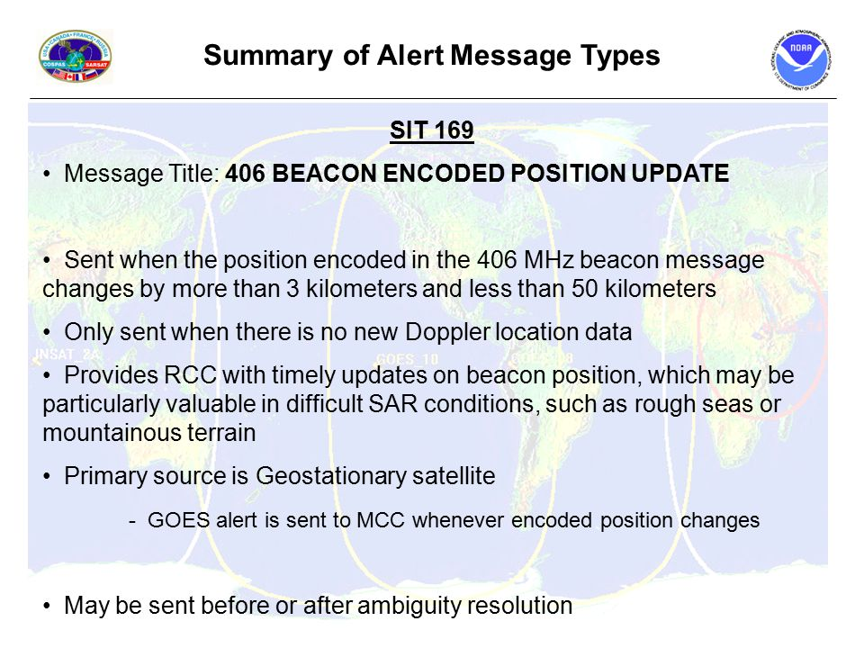 Summary of Alert Message Types SIT 169 Message Title: 406 BEACON ENCODED POSITION UPDATE Sent when the position encoded in the 406 MHz beacon message changes by more than 3 kilometers and less than 50 kilometers Only sent when there is no new Doppler location data Provides RCC with timely updates on beacon position, which may be particularly valuable in difficult SAR conditions, such as rough seas or mountainous terrain Primary source is Geostationary satellite - GOES alert is sent to MCC whenever encoded position changes May be sent before or after ambiguity resolution