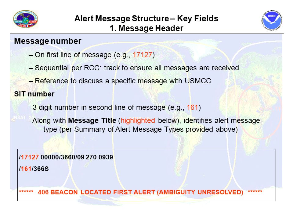 Alert Message Structure – Key Fields 1.
